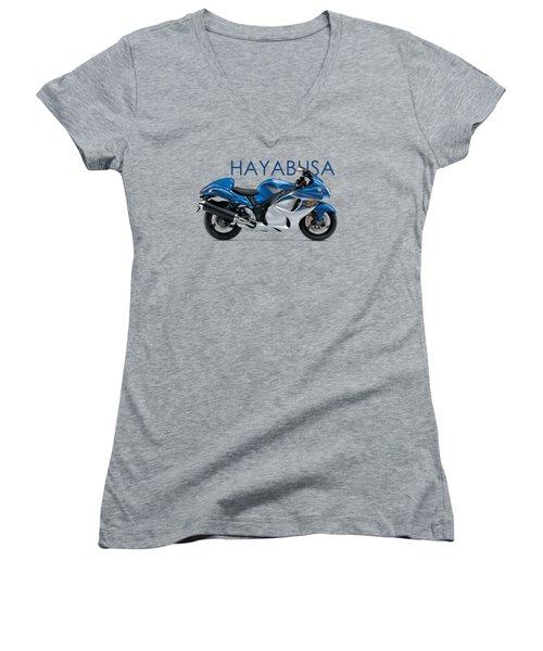 Hayabusa In Blue Women's V-Neck T-Shirt (Junior Cut) by Mark Rogan