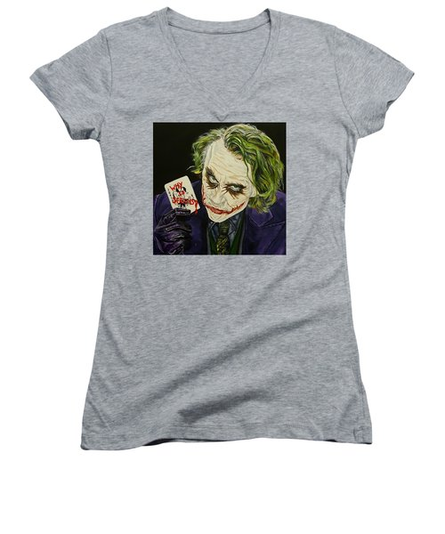 Heath Ledger The Joker Women's V-Neck T-Shirt (Junior Cut) by David Peninger