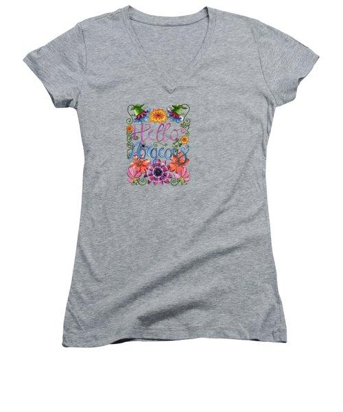 Hello Gorgeous Plus Women's V-Neck T-Shirt (Junior Cut) by Shelley Wallace Ylst