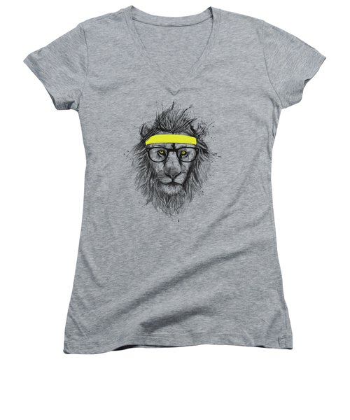 Hipster Lion Women's V-Neck T-Shirt (Junior Cut) by Balazs Solti