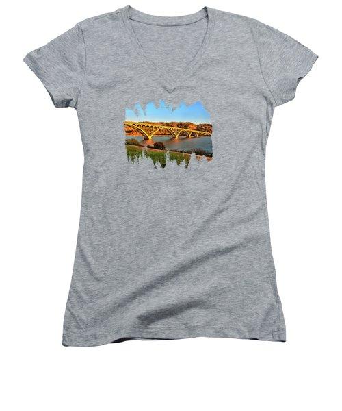 Historic Patterson Bridge Gold Beach Women's V-Neck T-Shirt (Junior Cut) by Thom Zehrfeld