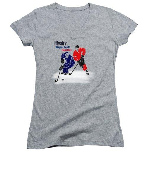 Hockey Rivalry Maple Leafs Senators Shirt Women's V-Neck T-Shirt (Junior Cut) by Joe Hamilton