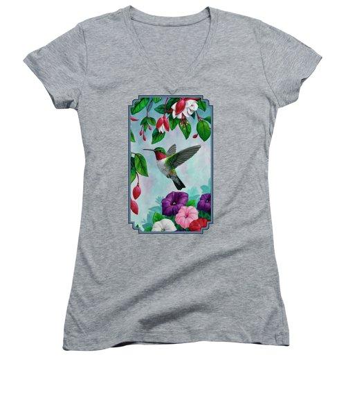 Hummingbird Greeting Card 1 Women's V-Neck T-Shirt (Junior Cut) by Crista Forest