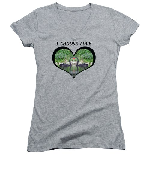 I Chose Love With Black Swans Forming A Heart Women's V-Neck T-Shirt (Junior Cut) by Julia L Wright