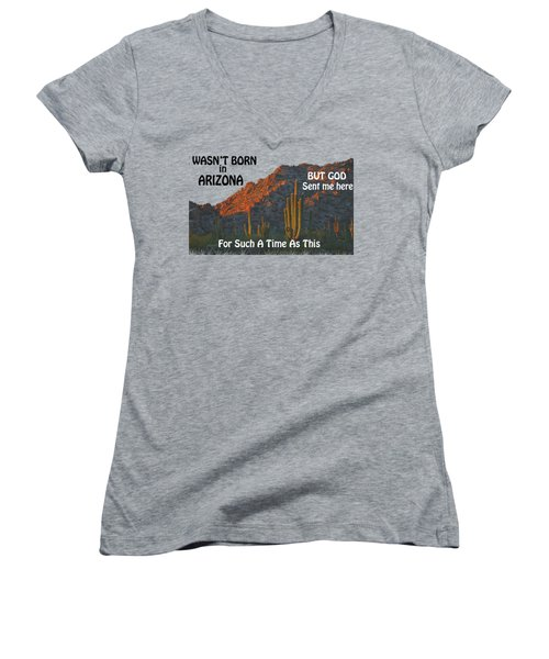 I Wasn't Born In Arizona Women's V-Neck T-Shirt (Junior Cut) by Beverly Guilliams