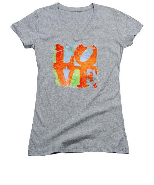 Iconic Love - Grunge Women's V-Neck T-Shirt (Junior Cut) by Paulette B Wright
