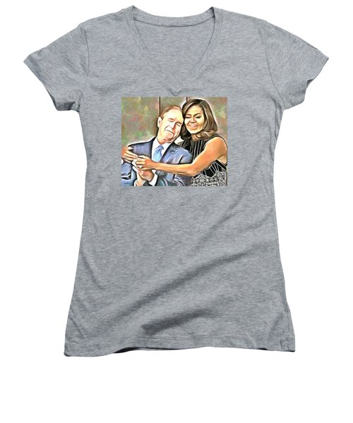 Imagine All The People Women's V-Neck T-Shirt (Junior Cut) by Wayne Pascall