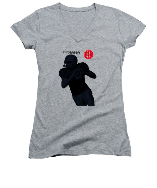 Indiana Football Women's V-Neck T-Shirt (Junior Cut) by David Dehner