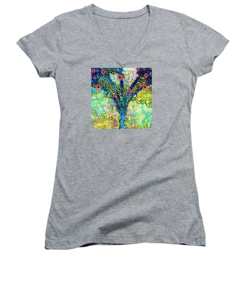 Inspirational Art - Absolute Joy - Sharon Cummings Women's V-Neck T-Shirt (Junior Cut) by Sharon Cummings