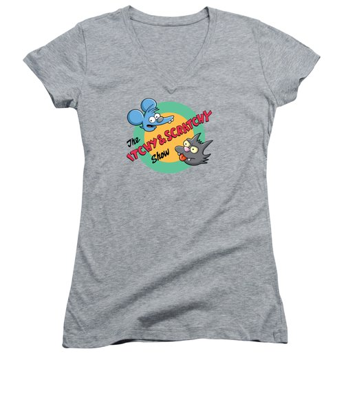 Itchy And Scratchy Women's V-Neck T-Shirt (Junior Cut) by Ian  King