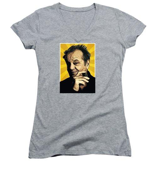 Jack Nicholson 3 Women's V-Neck T-Shirt (Junior Cut) by Semih Yurdabak