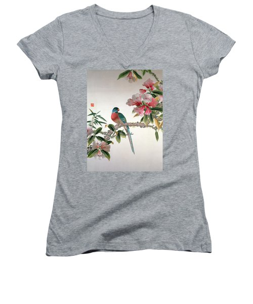 Jay On A Flowering Branch Women's V-Neck T-Shirt (Junior Cut) by Chinese School