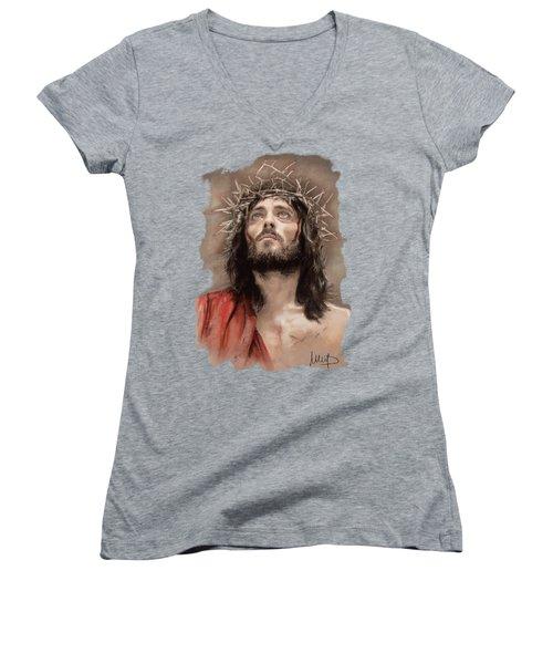 Jesus  Women's V-Neck T-Shirt (Junior Cut) by Melanie D