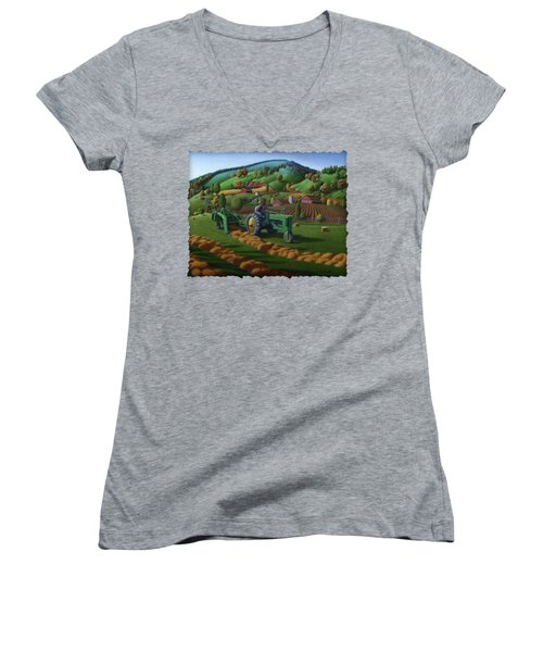 John Deere Tractor Baling Hay Farm Folk Art Landscape - Vintage - Americana Decor -  Painting Women's V-Neck T-Shirt (Junior Cut) by Walt Curlee