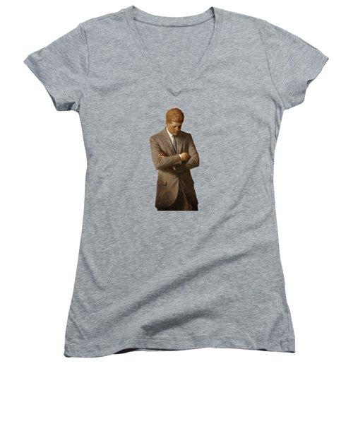 John F Kennedy Women's V-Neck T-Shirt (Junior Cut) by War Is Hell Store