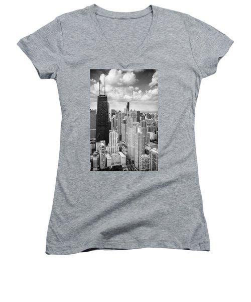John Hancock Building In The Gold Coast Black And White Women's V-Neck T-Shirt (Junior Cut) by Adam Romanowicz