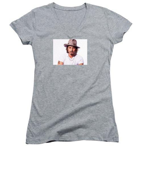 Johnny Depp Women's V-Neck T-Shirt (Junior Cut) by Iguanna Espinosa