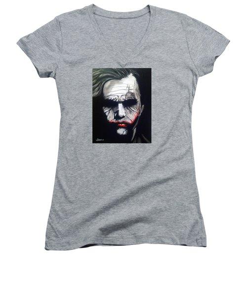Joker Women's V-Neck T-Shirt (Junior Cut) by John Svedese