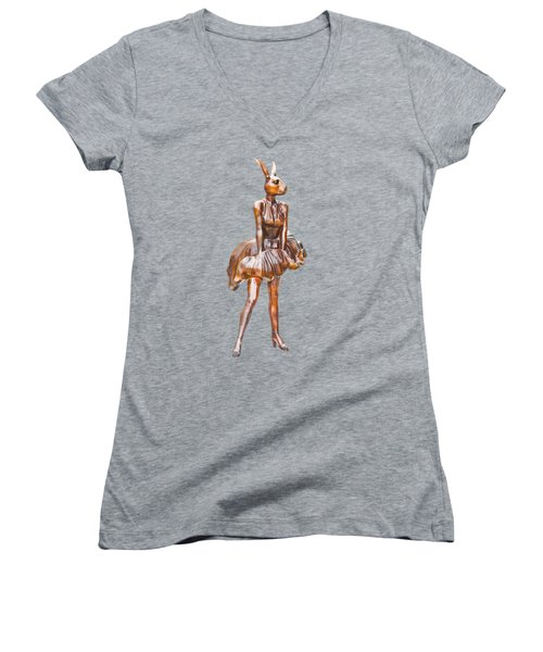 Kangaroo Marilyn Women's V-Neck T-Shirt (Junior Cut) by Susan Vineyard
