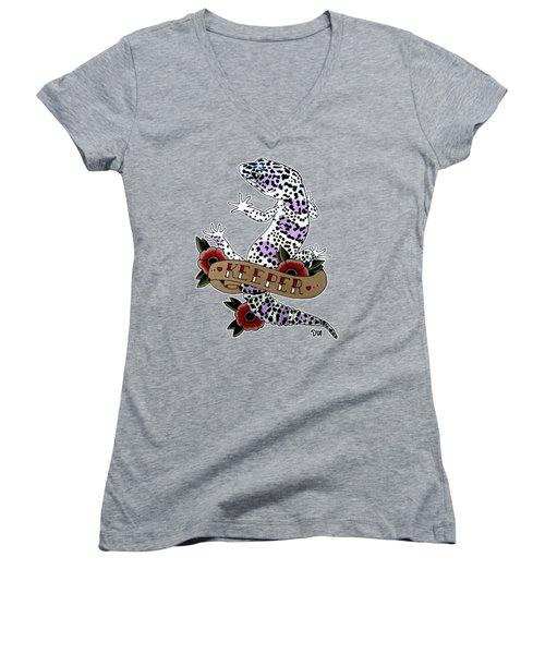 Keeper Leopard Gecko Women's V-Neck T-Shirt (Junior Cut) by Donovan Winterberg