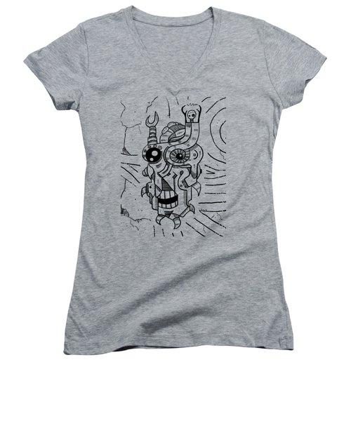 Killer Robot Women's V-Neck T-Shirt (Junior Cut) by Sotuland Art