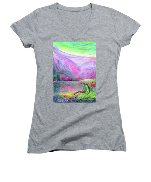 Kingfisher, Shimmering Streams Women's V-Neck T-Shirt (Junior Cut) by Jane Small
