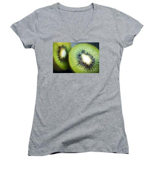Kiwi Fruit Halves Women's V-Neck T-Shirt (Junior Cut) by Ray Laskowitz - Printscapes