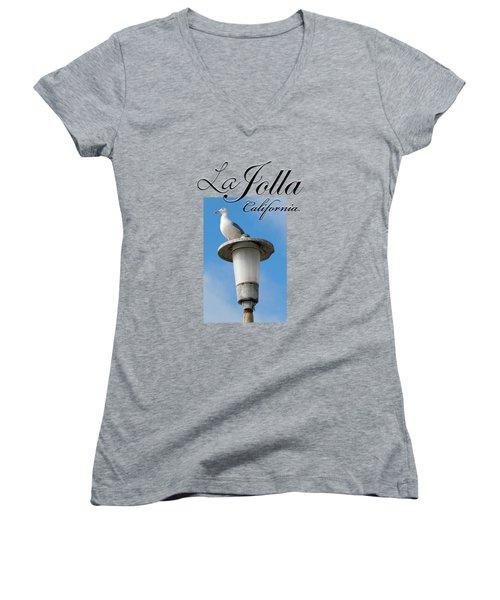 La Jolla Beach Seagull II Women's V-Neck T-Shirt (Junior Cut) by K D Graves