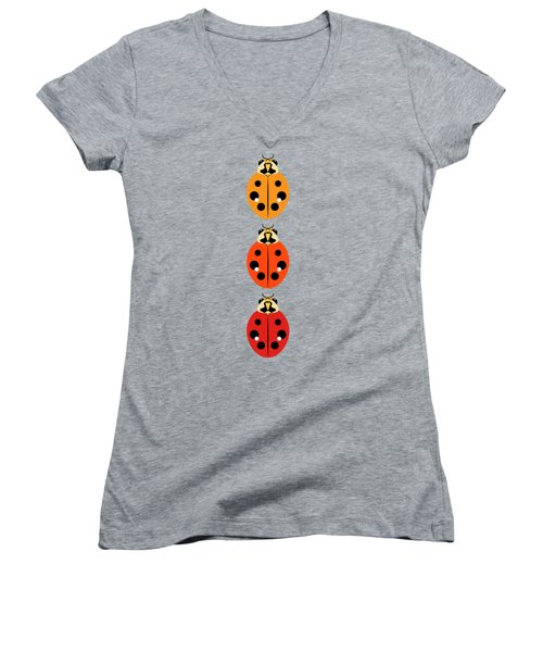 Ladybug Trio Vertical Women's V-Neck T-Shirt (Junior Cut) by MM Anderson