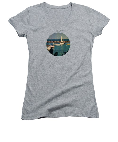 Lake Michigan Sailboats Women's V-Neck T-Shirt (Junior Cut) by Mary Wolf