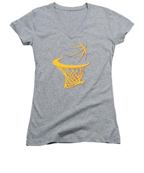 Lakers Basketball Hoop Women's V-Neck T-Shirt (Junior Cut) by Joe Hamilton