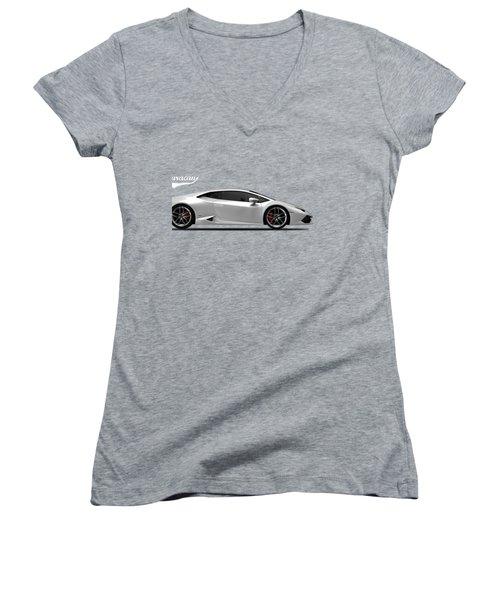Lamborghini Huracan Women's V-Neck T-Shirt (Junior Cut) by Mark Rogan