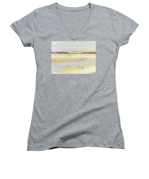 Lapwings By The Sea Women's V-Neck T-Shirt (Junior Cut) by William James Laidlay