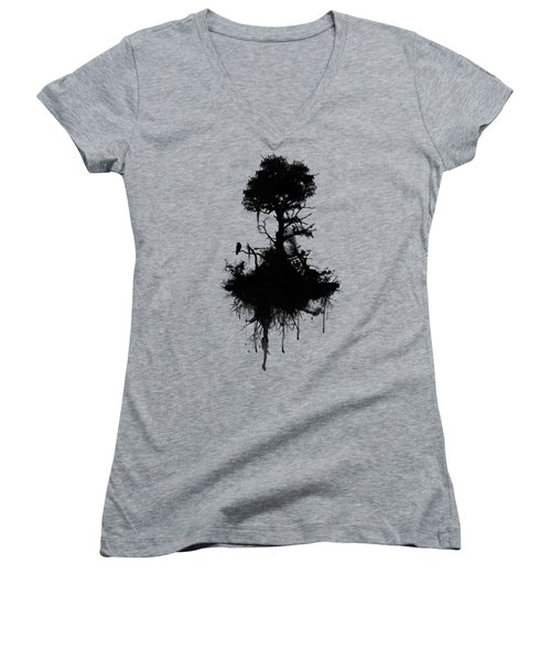 Last Tree Standing Women's V-Neck T-Shirt (Junior Cut) by Nicklas Gustafsson