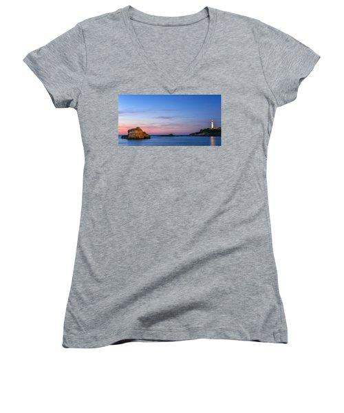 Women's V-Neck T-Shirt (Junior Cut) featuring the photograph Le Phare De Biarritz by Thierry Bouriat