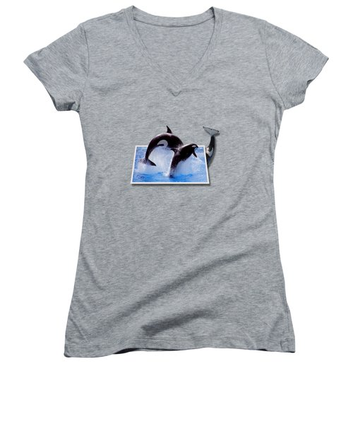 Leaping Orcas Women's V-Neck T-Shirt (Junior Cut) by Roger Wedegis