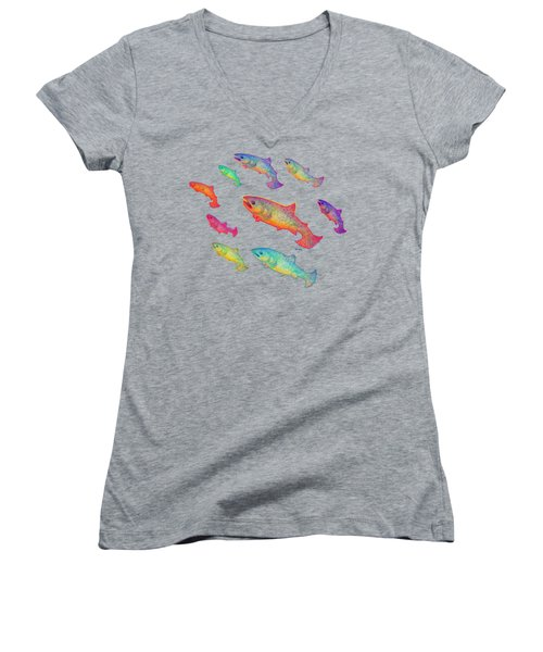 Leaping Salmon Design Women's V-Neck T-Shirt (Junior Cut) by Teresa Ascone