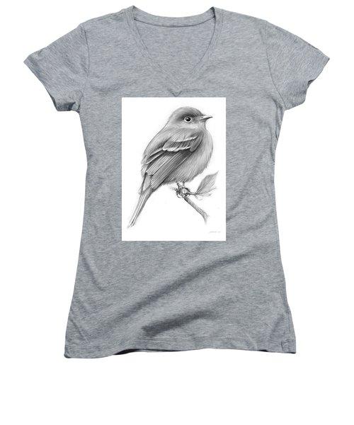Least Flycatcher Women's V-Neck T-Shirt (Junior Cut) by Greg Joens