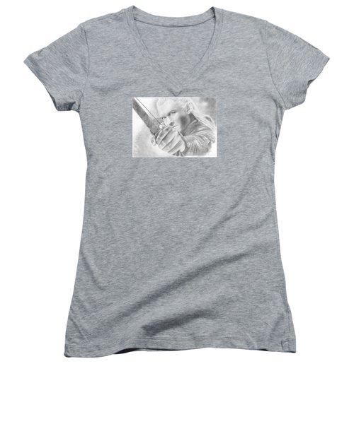 Legolas Greenleaf Women's V-Neck T-Shirt (Junior Cut) by Bitten Kari