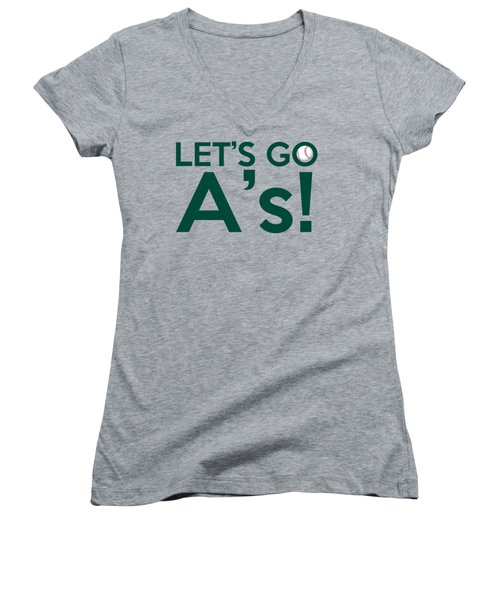 Let's Go A's Women's V-Neck T-Shirt (Junior Cut) by Florian Rodarte