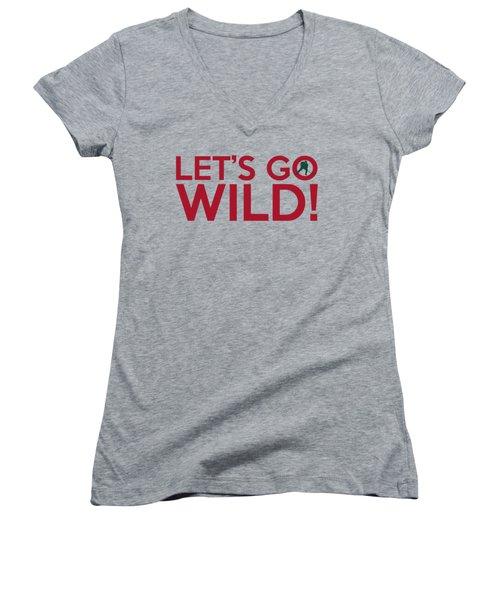 Let's Go Wild Women's V-Neck T-Shirt (Junior Cut) by Florian Rodarte