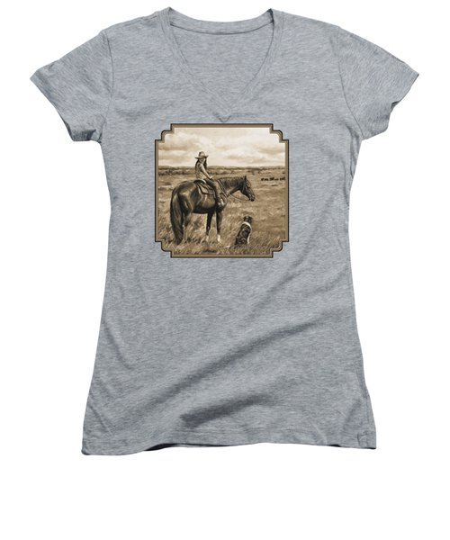 Little Cowgirl On Cattle Horse In Sepia Women's V-Neck T-Shirt (Junior Cut) by Crista Forest