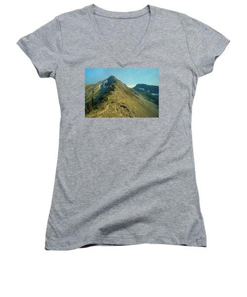 Llama Packer Hiking A Steep Rocky Mountain Peak Trail Women's V-Neck T-Shirt (Junior Cut) by Jerry Voss