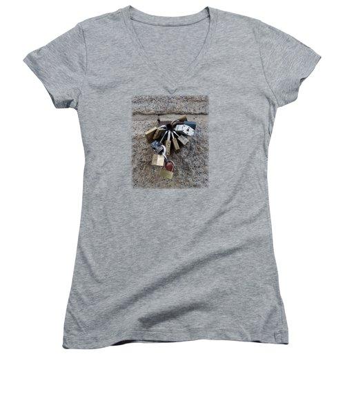 Locked Women's V-Neck T-Shirt (Junior Cut) by Sinder Singh