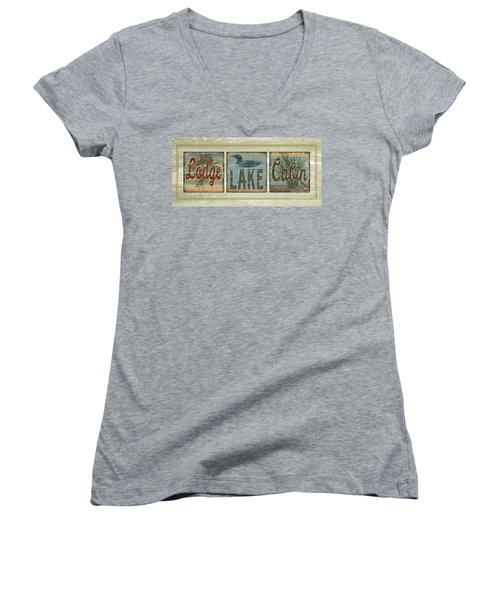 Lodge Lake Cabin Sign Women's V-Neck T-Shirt (Junior Cut) by Joe Low