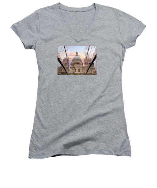 London Awakes - St. Pauls Cathedral Women's V-Neck T-Shirt (Junior Cut) by Gill Billington