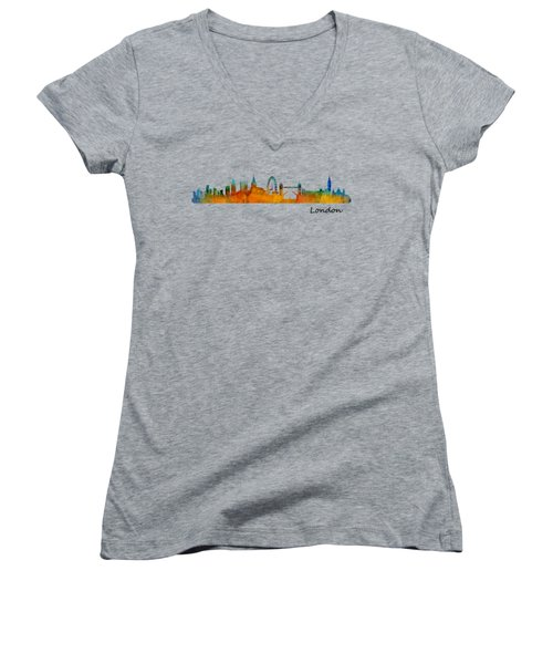 London City Skyline Hq V1 Women's V-Neck T-Shirt (Junior Cut) by HQ Photo