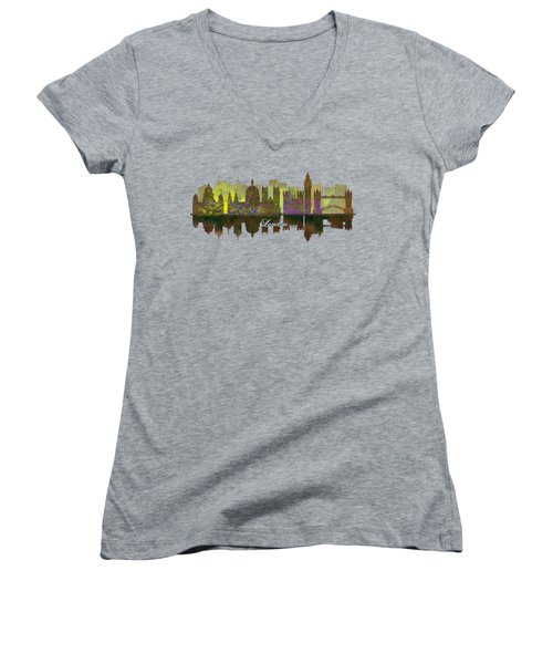 London England Skyline In Golden Light Women's V-Neck T-Shirt (Junior Cut) by John Groves