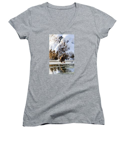 Lookout Above Women's V-Neck T-Shirt (Junior Cut) by Mike Dawson