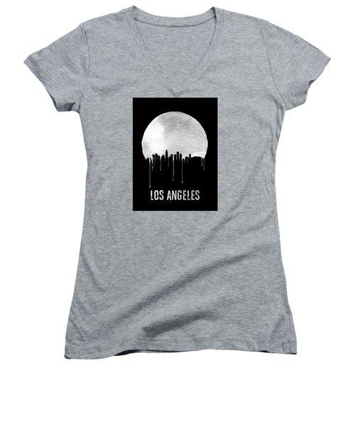 Los Angeles Skyline Black Women's V-Neck T-Shirt (Junior Cut) by Naxart Studio